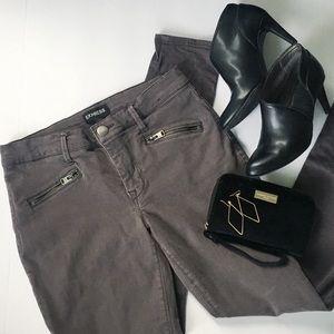 Express Midrise Front Zip Pocket Grey Legging